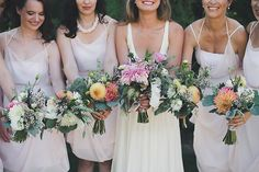 The five bridesmaids wore pink chiffon dresses made by Hrissa Soumpassis, a friend of the bride and designer of Elika in Love. Blush Bridesmaid Dresses, Wedding Dresses, Bridesmaids, Pink Chiffon Dress, Nautical Wedding Theme, Chloe Dress, Dress Making, Vancouver, Couples