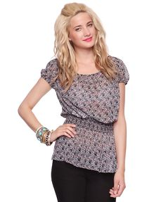 Forever 21 Abstract Puff Sleeve Top