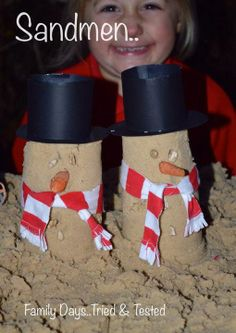 Not snowmen, but 'sandmen' - from Family days. Tried & tested. Outdoor Christmas, Family Christmas, Christmas Crafts, Christmas Activities For Kids, Winter Activities, Eyfs Activities, Work Activities, Xmas Decorations To Make, Reception Class