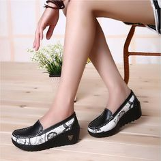 Buy now Female Swing shoes casual loafers platform women's fashion pumps shoes patchwork wedges heel shoes Spring Autumn boat shoes just only $18.11 with free shipping worldwide  #womenshoes Plese click on picture to see our special price for you