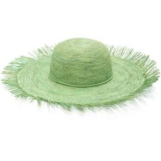 Sensi Studio Lady Majorca Frayed Toquilla Straw Sunhat (560 PLN) ❤ liked on Polyvore featuring accessories, hats, green, straw sun hat, wide brim straw hat, boho chic hats, wide brim sun hat and brim sun hat
