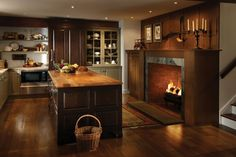 Cozy Kitchen with Fireplace #luxury #homes #house #forthehome #design #decor #interior #island #wood