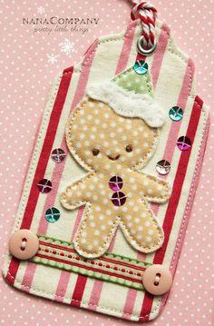 gingerbread boy fabric tag by nanaCompany