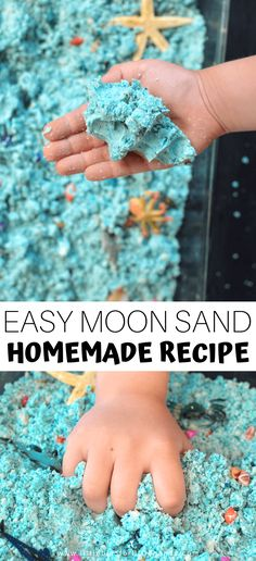 Make Ocean Moon Sand for Easy Moldable Fun! Make Ocean Moon Sand for Easy Moldable Fun!,sensory experiences Make Ocean Moon Sand for Easy Moldable Fun! Sensory Play Recipes, Sensory Activities, Infant Activities, Summer Activities, Indoor Activities, Family Activities, Sensory Art, Nursery Activities, Vocabulary Activities