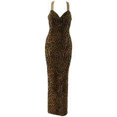 Preowned Museum Quality Gianni Versace Animal Print Fur Evening Gown... ($12,500) ❤ liked on Polyvore featuring dresses, gowns, multiple, versace evening dresses, brown dress, pre owned evening gowns, animal print evening dress and versace gowns