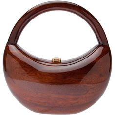ROCIO 'Soraya' handbag ($353) ❤ liked on Polyvore featuring bags, handbags, purses, borse, clutches, wood purse, structured purse, brown bag, brown purse and structured top handle bag