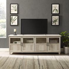 Charlton Home Romain TV Stand for TVs up to 78 inches Colour: White Oak Living Room Tv, Living Room Furniture, Furniture Decor, Modern Furniture, Dining Room, Tvs, Solid Wood Tv Stand, Upholstered Dining Chairs, Wood Cabinets
