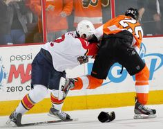 Matt Carle's 2nd career fight, defending his goaltender.