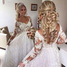 wedding hairstyles with tiara - weddinghairstyles Wedding Hair Down, Wedding Hair And Makeup, Wedding Updo, Bridal Hair, Half Up Half Down Wedding Hair, Bride Hair Down, Wedding Robe, Medium Long Hair, Medium Hair Styles