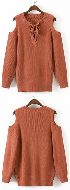 Women s Elegant Lace Up Off Shoulder Solid Color Sweaters - NOVASHE.com a466ac618