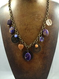 Necklace, vintage inspired, purples and gold, romantic jewelry, gift jewelry
