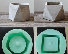 This Silicone Mold Geometric flower pots Concrete Cement vase is just one of the custom, handmade pieces you'll find in our molds shops. Concrete Candle Holders, Diy Concrete Planters, Concrete Cement, Concrete Crafts, Concrete Projects, Cement Flower Pots, Cement Art, Papercrete, Beton Diy