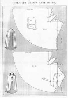 Cavalier cape, mid to late 1910s, with complete instructions in three languages. ..♥.Nims.♥