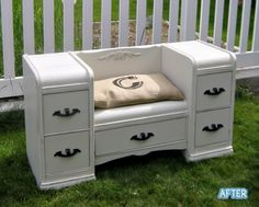 Turn one of those ugly curve top vanities into a dresser/bench for Callie?? Would be cute!