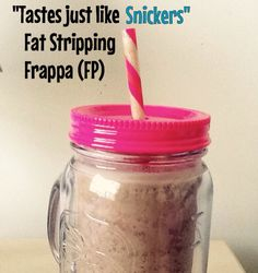 Snickers Fat Stripping Frappa. Everyone loves Snickers, but not everyone loves the fat, calories and sugar. So here's an on plan shake that will help satisfy those cravings. This recipe came from the Fat Stripping Frappa from the THM book. The recipe is as follows: - 1/2 unsweetened almond milk - 1/2 water - 1 tbsp THM sweet blend - 1/4 tsp THM pure stevia - pinch salt - 1/4 tsp caramel extract - 1 1/2 heaping tsp cocoa powder - scant 1/2 tsp gluccomanan- 1/2 heaping tsp THM peanut flour…