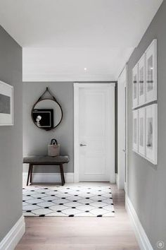 Wall color light gray - a characteristic background for every modern room - wall paint light gray hallway design ideas elegant carpet white black - Hallway Paint Colors, Room Wall Colors, Paint Colours, Bedroom Colors, Grey Interior Design, Interior Walls, Grey Interior Paint, Modern Interior, Interior Wall Colors
