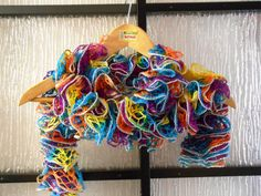 Rainbow ruffle scarve knitted by me
