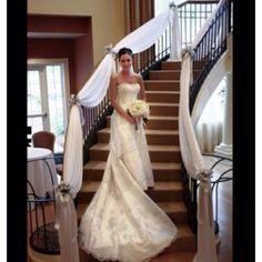 White draped stairs #wedding