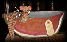 Handmade *Primitive*Large Watermelon` with Nesting Hungry Mouse` Stands Alone #KarenfromJosiesAttic