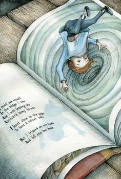 Falling in  (Illustration by Adam Oehlers) This is how I feel when I loose myself in a book.