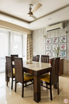 The house design images of this in Gurgaon have a beautiful story to tell. Take a tour today. Dinning Table Design, Dining Room Furniture Design, Wooden Dining Table Designs, Marble Top Dining Table, Living Room Sofa Design, Home Room Design, Home Interior Design, House Design, Indian Dining Table