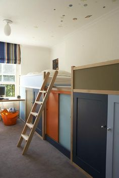 Bunk beds with storage underneath- I really like this idea, as in our home we have very little closet space, no attic or basement. Not to mention it is not TOO high up off the floor. GREAT idea.....def in top 5 for bunk design.