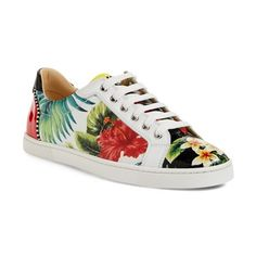 Christian Louboutin 'Seava Hawaii' Print Sneaker (1,130 CAD) ❤ liked on Polyvore featuring shoes, sneakers, print sneakers, rubber sole shoes, lace up shoes, christian louboutin and laced shoes