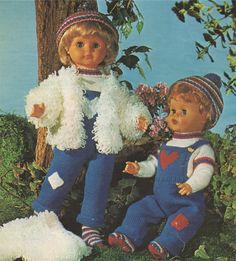 Dolls Clothes PDF Knitting Pattern : 20 inch high Dolly . Rompsuit / Dungarees . Sweater . Socks . Loopy Jacket . Cap . DK .Instant Download by PDFKnittingCrochet on Etsy
