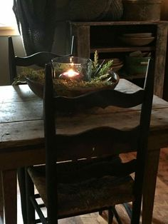 wooden bowl & greens + candle Primitive Christmas Decorating, Prim Christmas, Country Christmas, Simple Christmas, Christmas Decorations, Holiday Decorating, Decorating Ideas, Decor Ideas, Primitive Homes