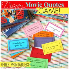 """Disney Movie Quotes Game with free printable.this is definitely going to be a """"Road Trip"""" game for us on the way to Disney in January! How Fun! And I would just like to say """"Its so fluffy I'm gonna die"""" is from despicable me and not a Disney movie"""