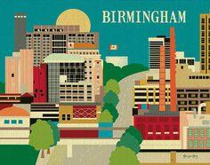 Birmingham, Alabama Skyline - Horizontal Southern Wall Art for Home, Gift, Nursery, style E8-O-BIR