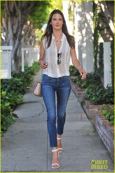 Alessandra Ambrosio - sheer white blouse + jeans + white sandals // white on white
