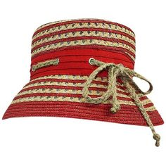 Red & Tan Nautical Rope Bucket Hat ($30) ❤ liked on Polyvore featuring accessories, hats, red, tan bucket hat, tan hat, red hat, fisherman hat and pattern hats