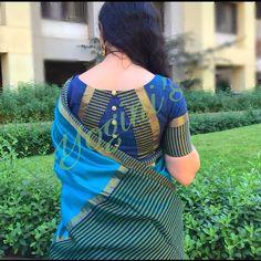 Latest saree blouse neck designs for 2018 ArtsyCraftsyDad Blouse Designs High Neck, Patch Work Blouse Designs, Cotton Saree Blouse Designs, Simple Blouse Designs, Stylish Blouse Design, Kurta Designs, Pattern Blouses For Sarees, Latest Blouse Designs, Latest Saree Blouse