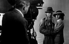 Bogart and Bergman take instructions from Michael Curtiz on the set of Casablanca, 1942