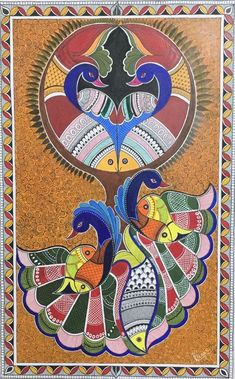 Madhubani Paintings Peacock, Kalamkari Painting, Madhubani Art, Indian Art Paintings, Worli Painting, Peacock Painting, Ganesha Painting, Ancient Indian Art, Indian Folk Art