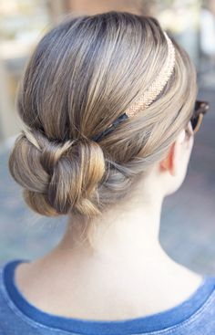 Quick braid bun with a simple headband. Inspired by L'Oreal Advanced Hairstyles