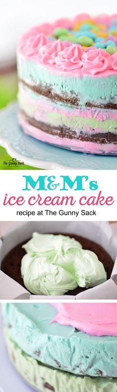 M&M Ice Cream Cake Recipe | http://thegunnysack.com