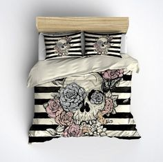 Featherweight Skull Bedding -  Flower & Skull Stripe Printed on Cream - Comforter Cover - Sugar Skull Duvet Cover, Sugar Skull Bedding Set