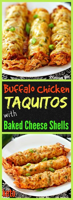 These Buffalo Chicken Taquitos with Baked Cheese Shells are a flavor explosion in your mouth! No flour or corn tortillas used here…only Cheese! You have to try this incredibly easy to make #dinner, appetizer or afternoon snack that tastes Amazing. It only takes 7 simple ingredients and is gluten free, low-carb and #keto friendly. Get ready for tons of compliments! Click to read more!