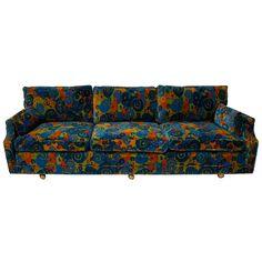 mid century 70's Jack Lenor Larsen Velvet Sofa For Sale at 1stdibs