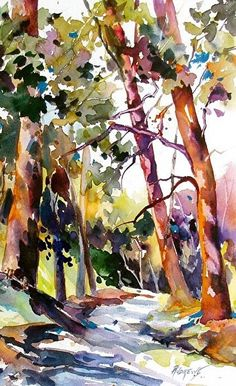 Variation on a Theme Artist.Rae Andrews by Rae Andrews, Watercolor, x Tree Watercolor Painting, Watercolor Landscape Paintings, Watercolor Sketch, Watercolor Artists, Seascape Paintings, Abstract Watercolor, Landscape Art, Watercolor Flowers, Watercolor Portraits