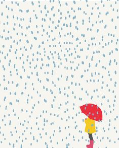 Fine Art Print. Girl with Umbrella in the Rain. by joreyhurley, $35.00