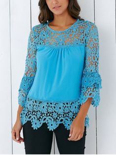 Stylish 34 Sleeve Lace Spliced Hollow Out Crochet Blouse Crochet Blouse, Crochet Lace, Cheap Blouses, Blouses For Women, Kinds Of Clothes, Lace Insert, Crochet Clothes, Spring, My Style