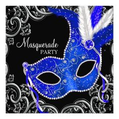 Masquerade Party Invitations Royal Blue and Black Masquerade Party Card