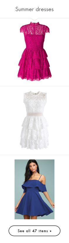 """""""Summer dresses"""" by mara-stoll ❤ liked on Polyvore featuring dresses, fuxia, flutter-sleeve dress, pink ruffle dress, ruffle dress, fuchsia dresses, fuschia cocktail dress, white, flower printed dress and white sleeveless dress"""