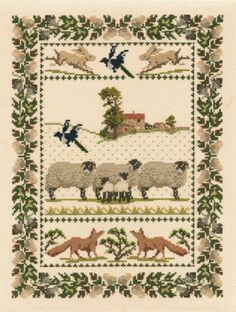 Derwentwater Country Life Sampler 16 Count Aida Counted Cross Stitch Kit   eBay