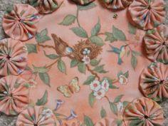 Spring Blue Bird Nest Yo Yo Doilypenny rug style mat by SursyShop, $8.00