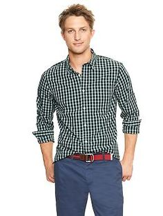 Lived-in wash checkered plaid poplin shirt In Evergreen Glamour