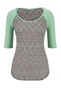patterned elbow length sleeve baseball tee - maurices.com